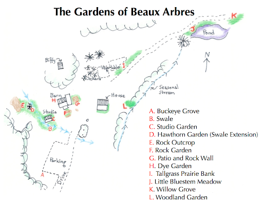 map of the display gardens of Beaux Arbres